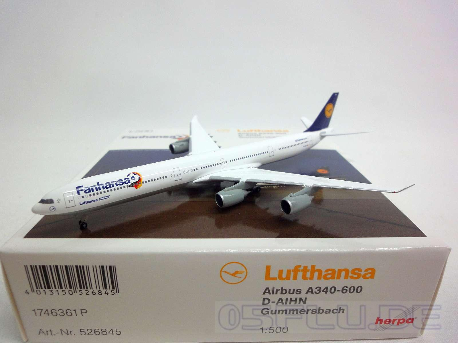 herpa 1 500 526845 lufthansa airbus a340 600 d aihn gummersbach neu ebay. Black Bedroom Furniture Sets. Home Design Ideas