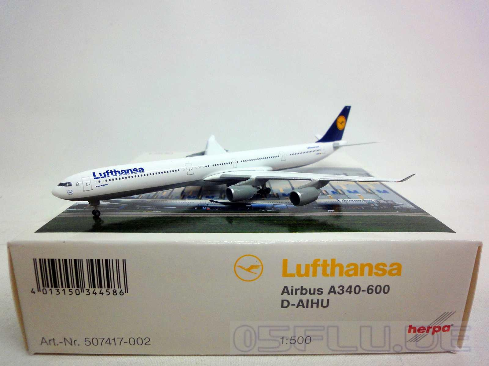 herpa 1 500 507417 002 lufthansa airbus a340 600 d aihu neu ebay. Black Bedroom Furniture Sets. Home Design Ideas