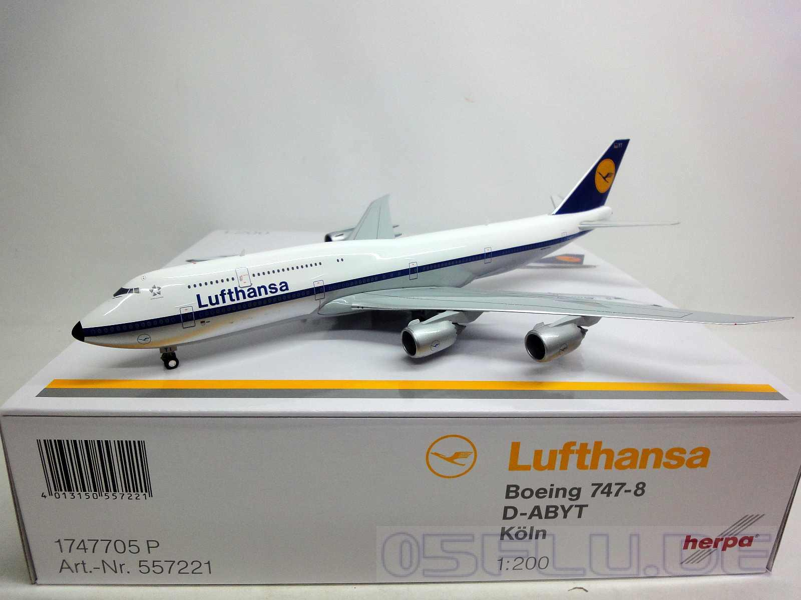 herpa 1 200 557221 lufthansa boeing 747 8 intercontinental retro k ln neu. Black Bedroom Furniture Sets. Home Design Ideas