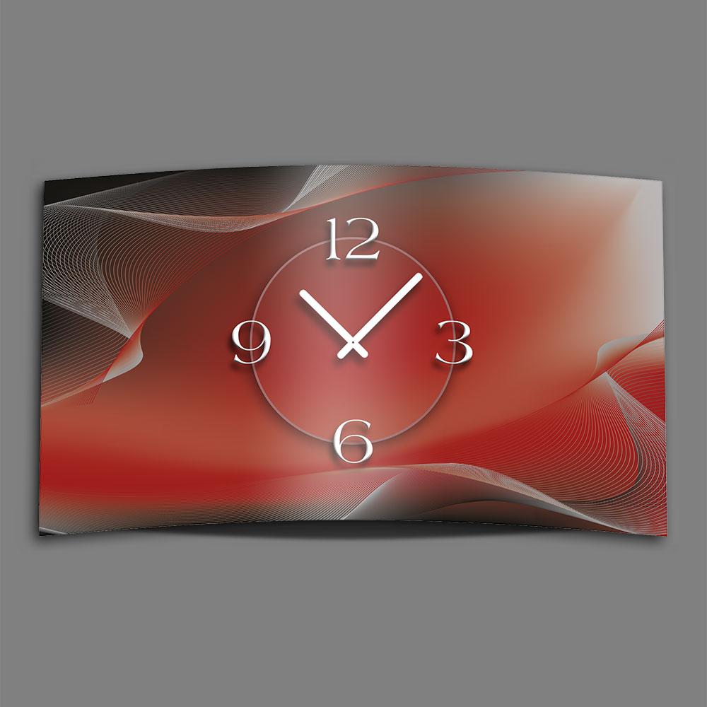 abstrakt rot grau designer wanduhr edelstahl modernes. Black Bedroom Furniture Sets. Home Design Ideas