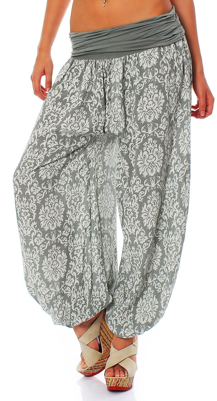 pumphose baggy pluderhose im harem stil yoga muster damen one size ebay. Black Bedroom Furniture Sets. Home Design Ideas