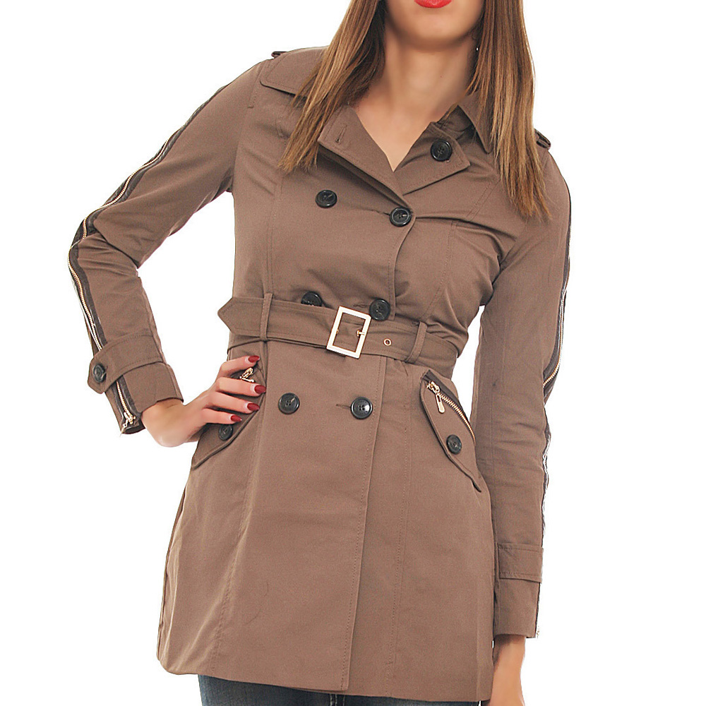 attentif trenchcoat mantel bergangsjacke lang damen ebay. Black Bedroom Furniture Sets. Home Design Ideas