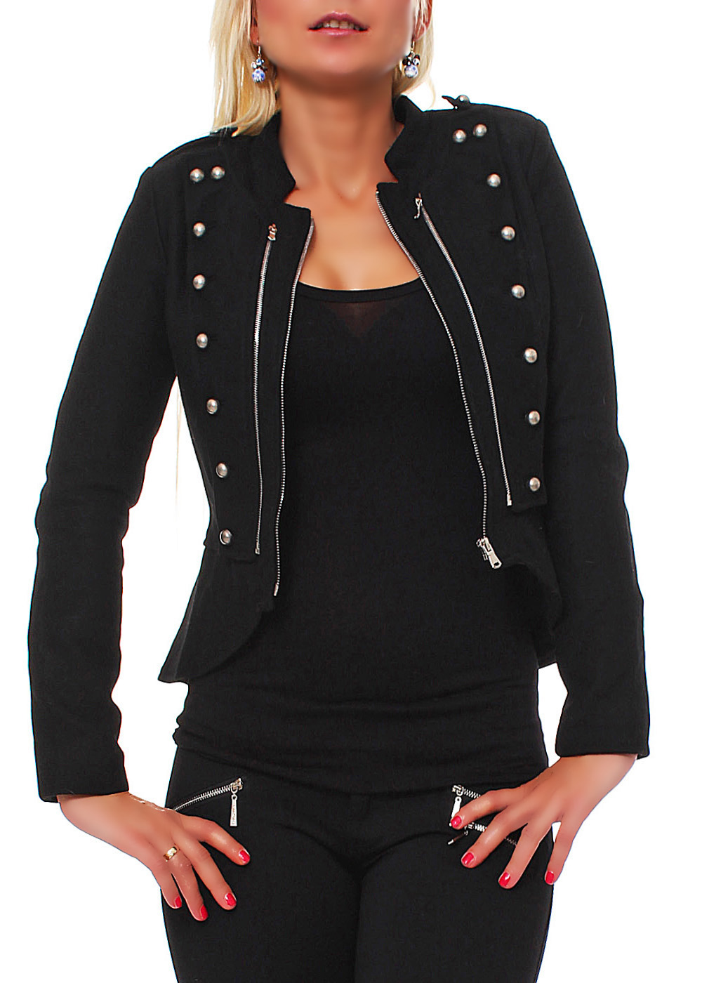 fashion jacke military blazer mit schulterklappen damen ebay. Black Bedroom Furniture Sets. Home Design Ideas