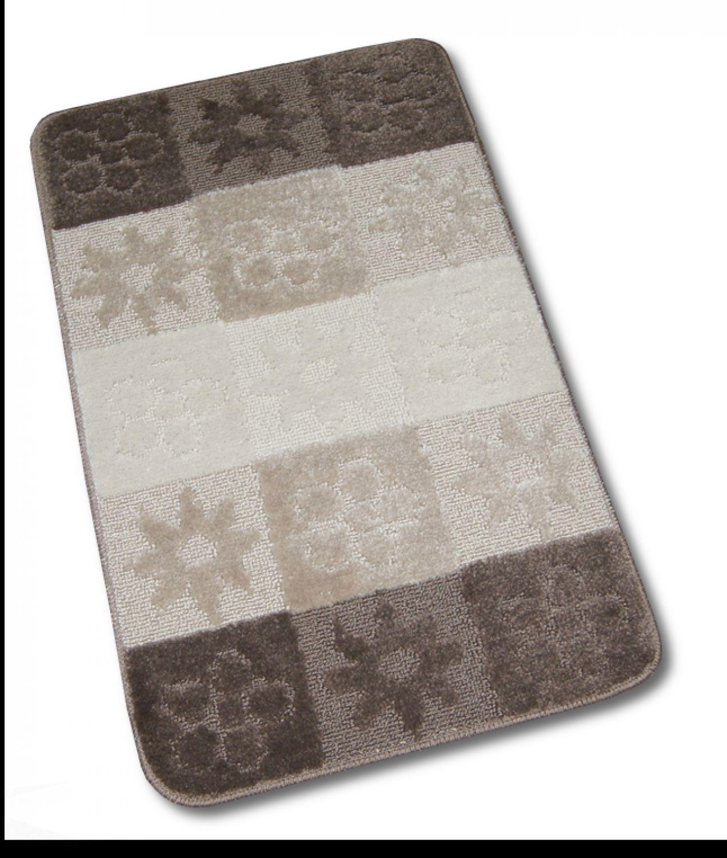 badteppich garnitur 2tlg blume braun beige wc vorleger mit ausschnitt 50x80 ebay. Black Bedroom Furniture Sets. Home Design Ideas