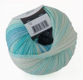 Schulana Bändchengarn ARESIS Fb.12 turquoise-blue-mottled natural 50g ( 130.00 Eur / kg)