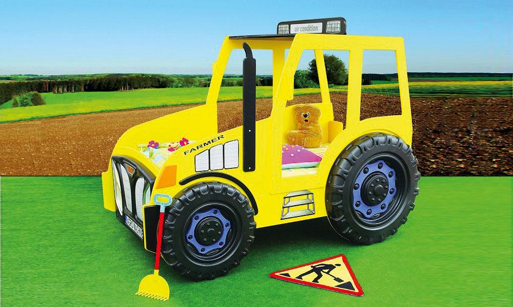 Kinderbett junge traktor  Kinderbett Traktor Gelb Traktorbett Kinderzimmer Autobett ...