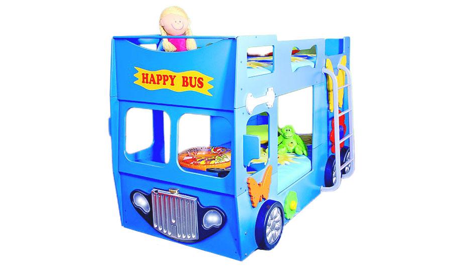 Etagenbett hochbett kinderbett bus blau kinderbett - Kinderbett bus ...