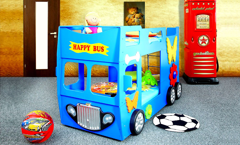 etagenbett hochbett kinderbett bus blau kinderbett kinderzimmer autobett ebay. Black Bedroom Furniture Sets. Home Design Ideas