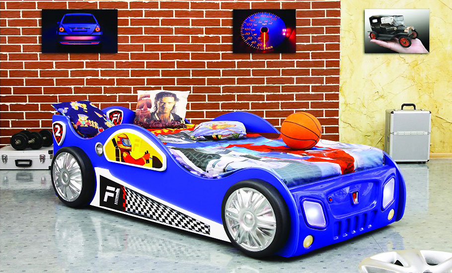 autobett rennfahrer kinderzimmer bett blau f1 auto kinderbett matratze formel 1 ebay. Black Bedroom Furniture Sets. Home Design Ideas