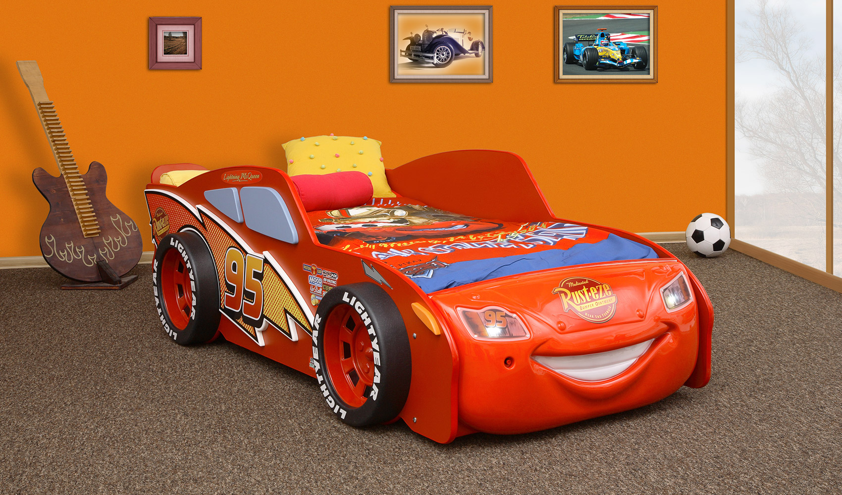 autobett lightning mcqueen kinderbett schlafen rennwagenbett bett kinder cars ebay. Black Bedroom Furniture Sets. Home Design Ideas