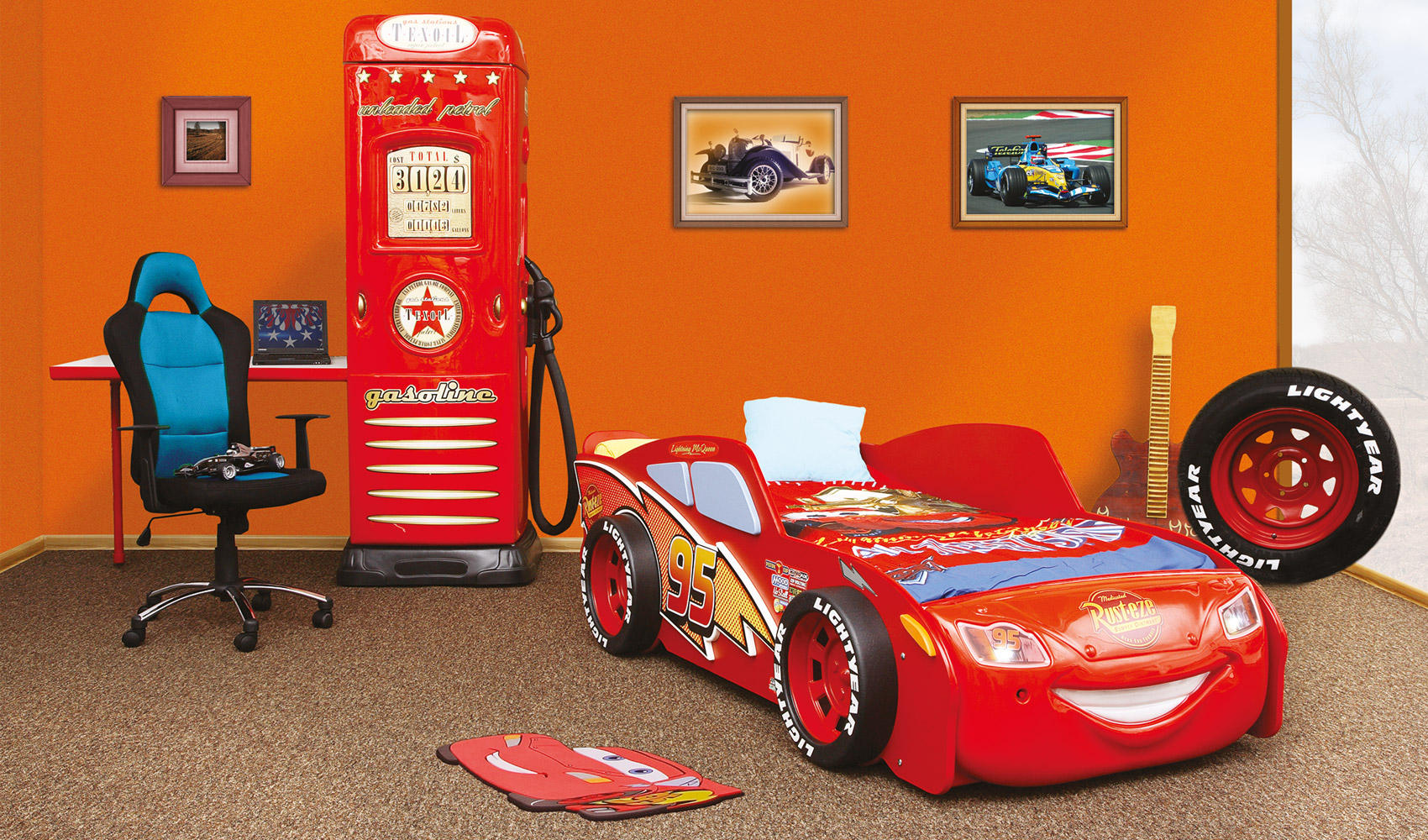 autobett lightning mcqueen kinderbett schlafen. Black Bedroom Furniture Sets. Home Design Ideas