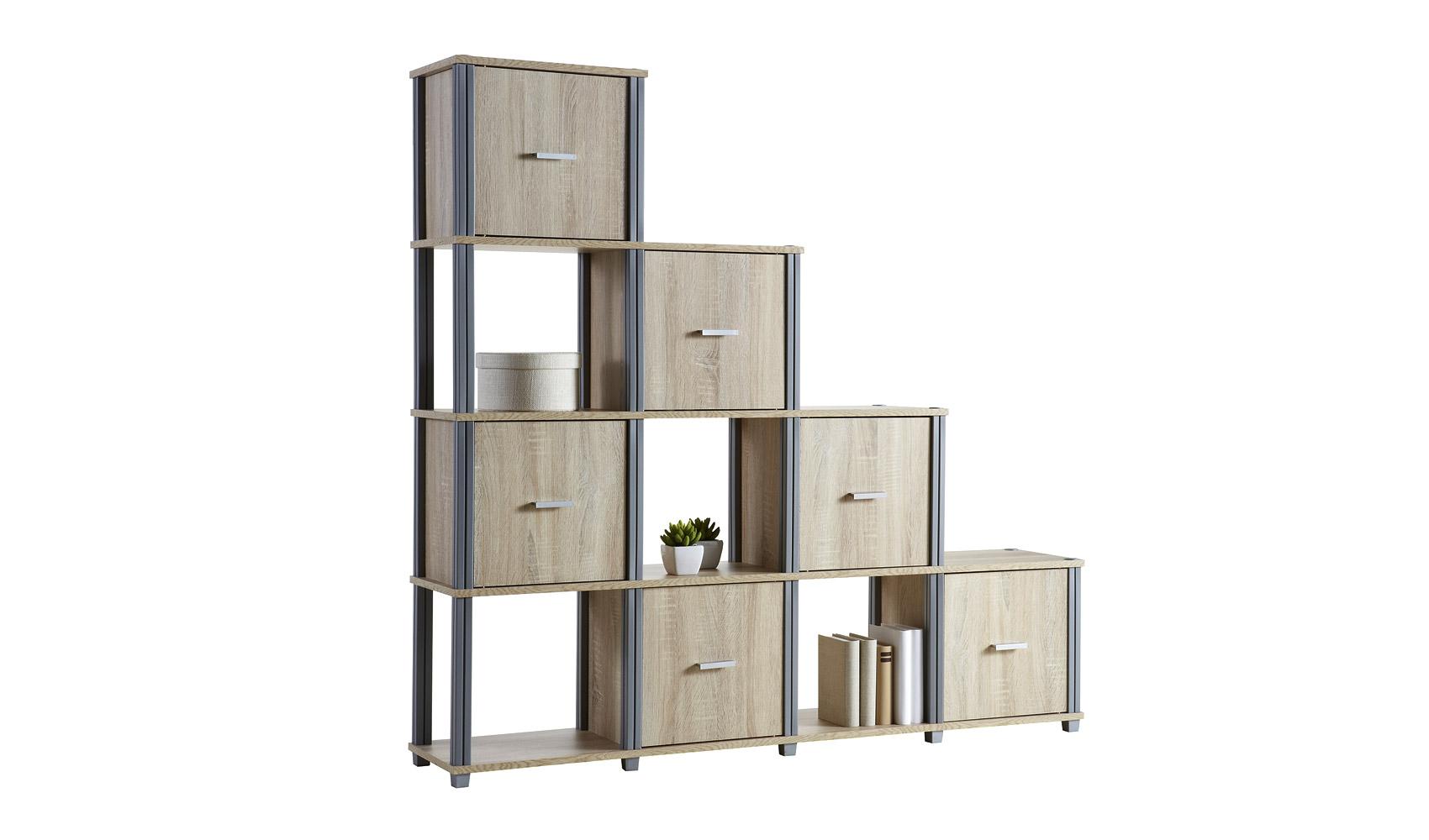 stufenregal regal dachschr ge b cherregal eiche sonoma ebay. Black Bedroom Furniture Sets. Home Design Ideas