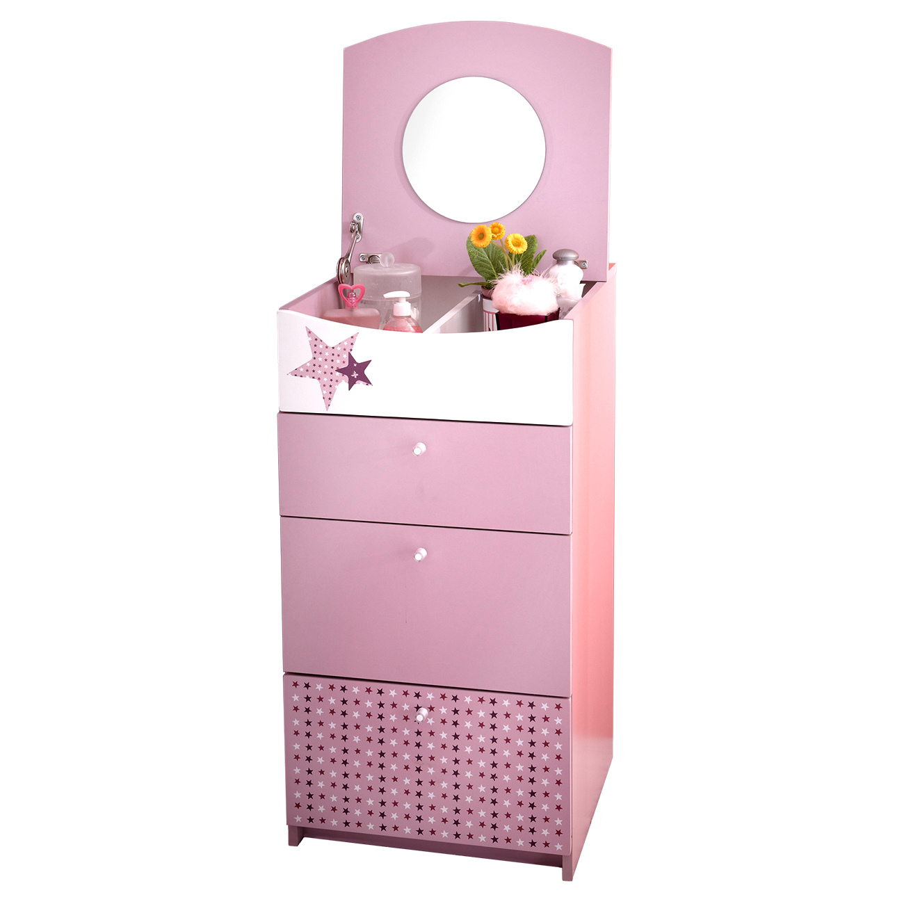 kinderkommode prinzessin schminkschrank m dchen kommode spiegel rosa ebay. Black Bedroom Furniture Sets. Home Design Ideas