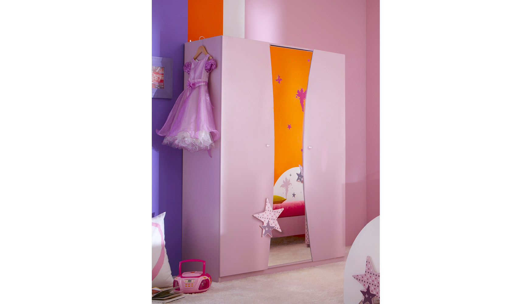 kleiderschrank prinzessin m dchenschrank schrank kinderzimmer lila 3 t rig ebay. Black Bedroom Furniture Sets. Home Design Ideas