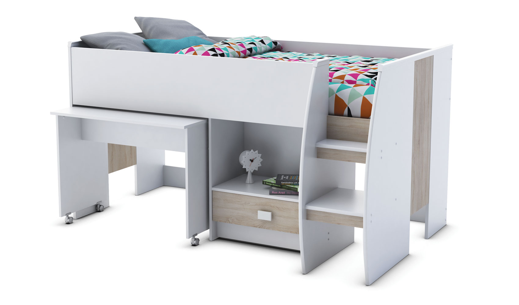 jugendbett hochbett kombibett wei spielbett kinder bett schreibtisch ebay. Black Bedroom Furniture Sets. Home Design Ideas
