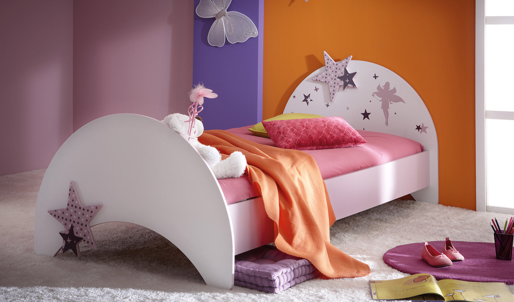 kinderbett weiss violett einzelbett bett m dchen feen und sterne 90x200 cm ebay. Black Bedroom Furniture Sets. Home Design Ideas
