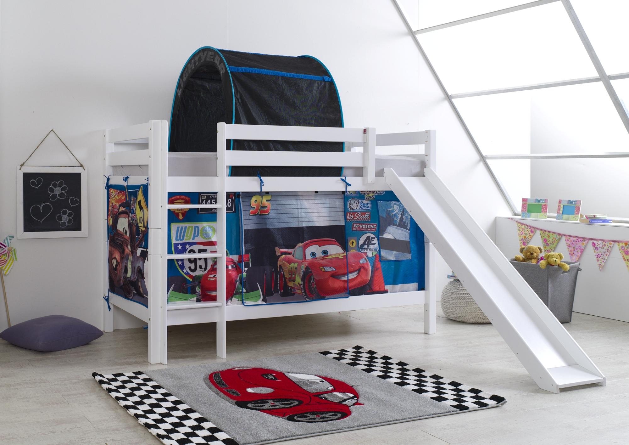 kinderhochbett mit rutsche wei. Black Bedroom Furniture Sets. Home Design Ideas