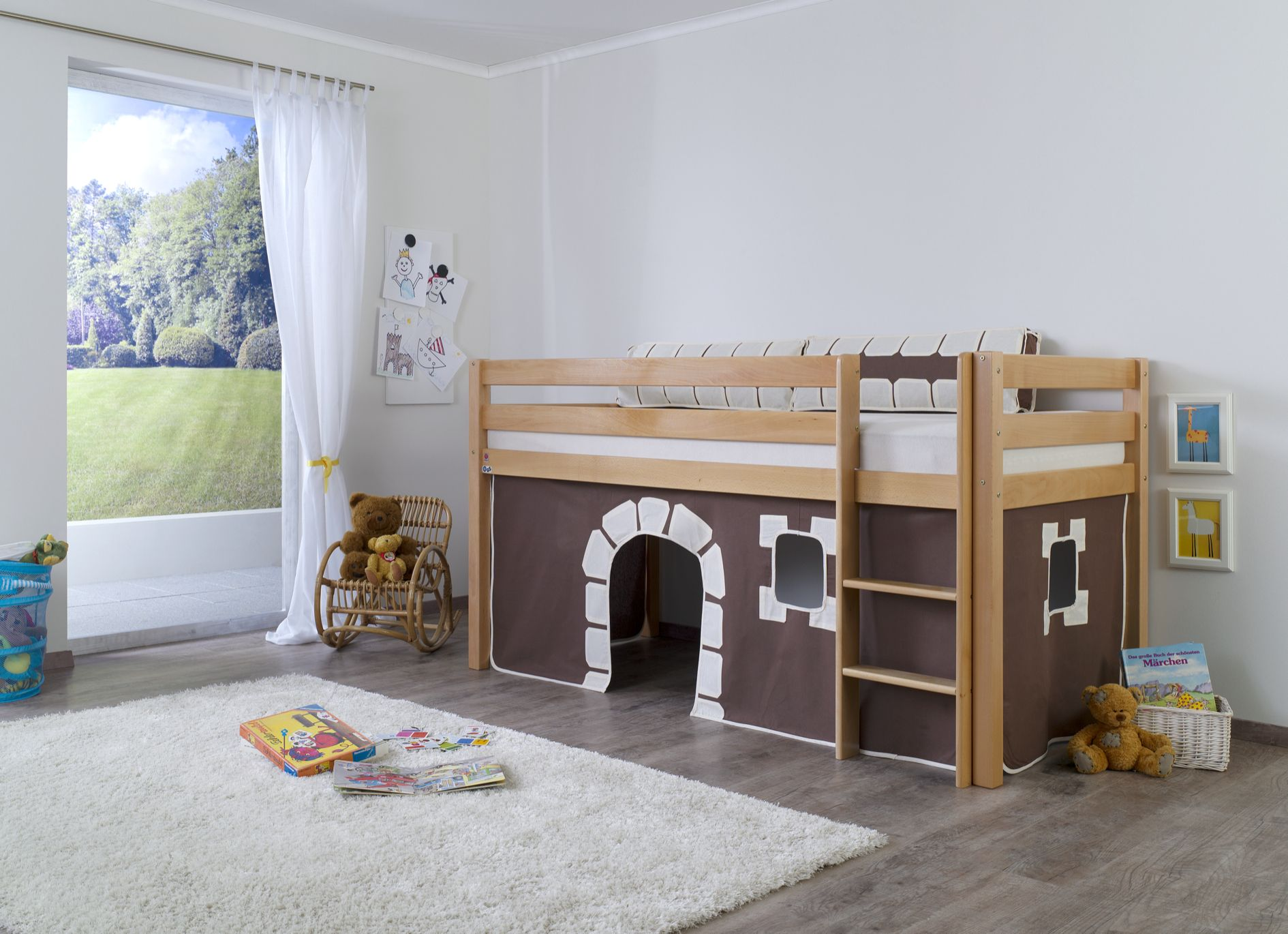 kinderbett ritterburg spielbett hochbett holzbett kinder bett buche 90x200cm. Black Bedroom Furniture Sets. Home Design Ideas