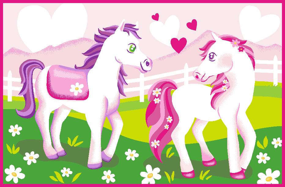 M dchenteppich kinderteppich teppich pferde l ufer - Pferde kinderzimmer ...