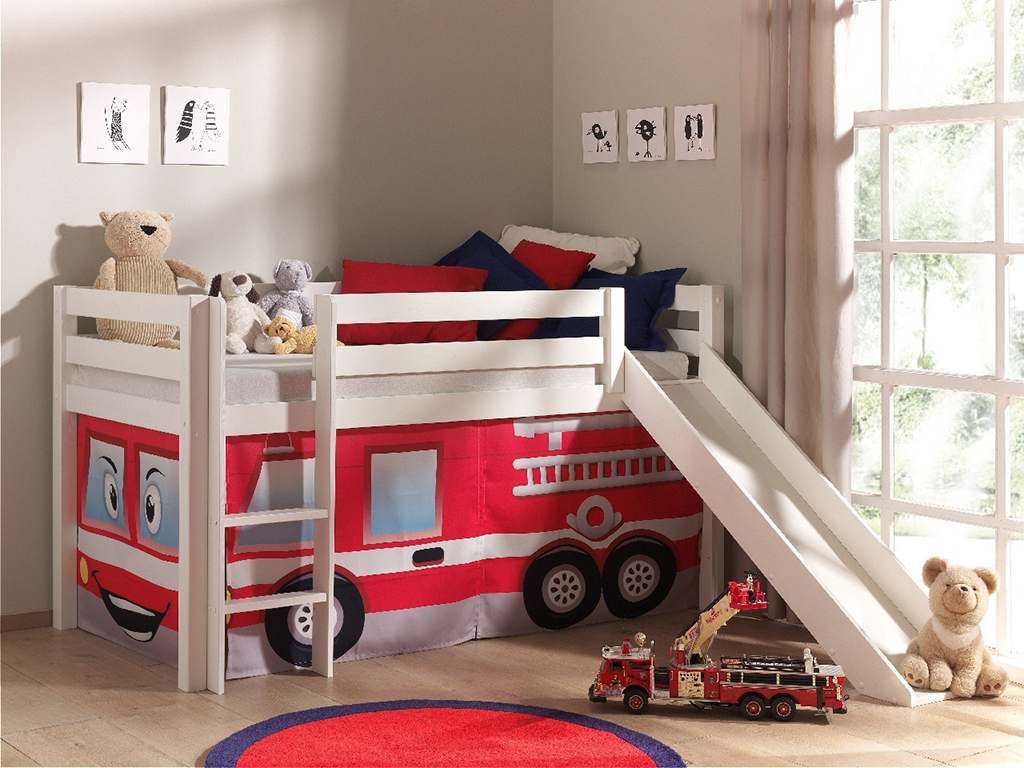 hochbett feuerwehrbett jugendbett kinderzimmer bett spielbett rutsche wei ebay. Black Bedroom Furniture Sets. Home Design Ideas