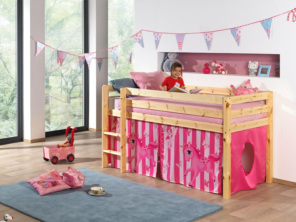 Jugendbett hochbett rosa einhorn mädchenbett holzbett kinder ...
