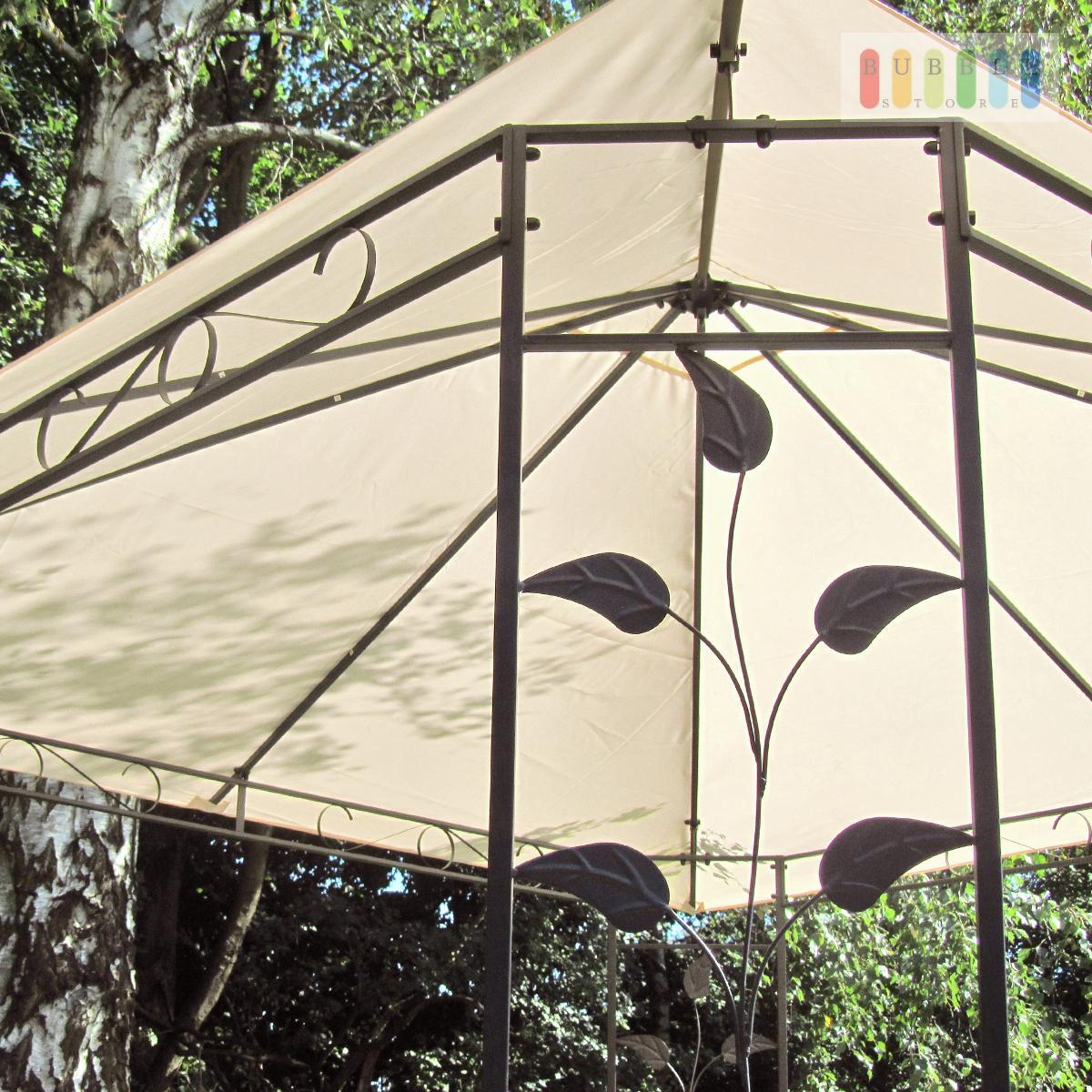 3x3m metallpavillon metall zelt pavillon gartenpavillon partyzelt blattdesign ebay. Black Bedroom Furniture Sets. Home Design Ideas