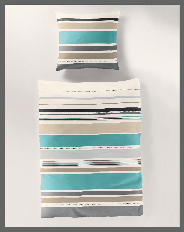 bettw sche 4tlg biber 155x220 80x80 streifen t rkis grau wei ebay. Black Bedroom Furniture Sets. Home Design Ideas
