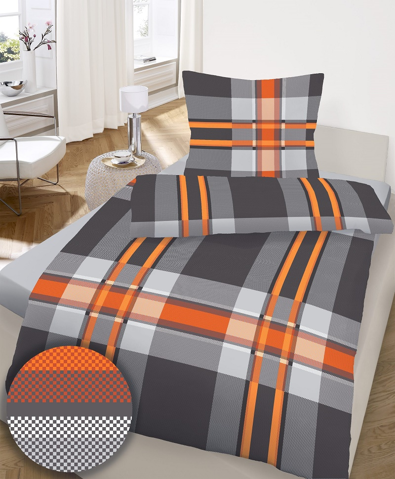 bettw sche 4tlg fein biber 155x220 80x80 schwarz orange streifen ebay. Black Bedroom Furniture Sets. Home Design Ideas