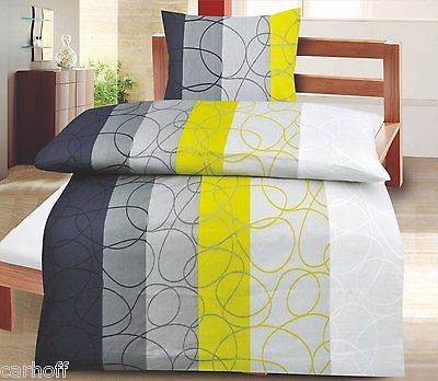 bettw sche 2tlg linon sommer 135x200 80x80 gr n grau muster ebay. Black Bedroom Furniture Sets. Home Design Ideas