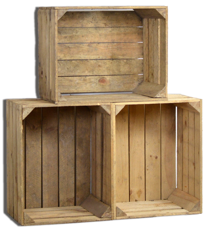 3 set vintage holzkiste dunkel alte obstkiste weinkiste natur used look ebay. Black Bedroom Furniture Sets. Home Design Ideas