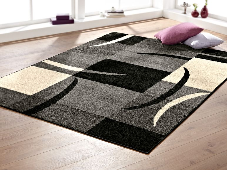 Teppich grau schwarz  MERADISO® Teppich, 170 x 230 cm Grau/Schwarz/Weiß -B-Ware ...
