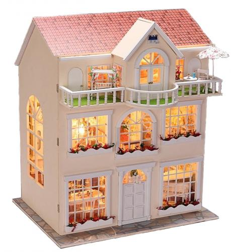 puppenhaus bausatz aus holz mit kompletter einrichtung incl beleuchtung ebay. Black Bedroom Furniture Sets. Home Design Ideas
