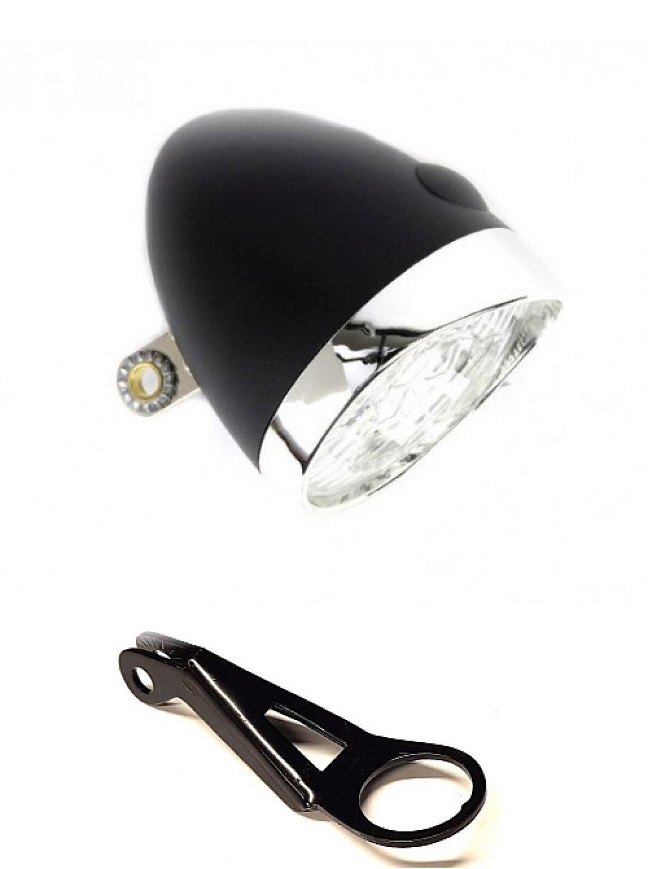 fri retro led fahrradlampe halterung frontleuchte scheinwerfer nostalgie schwarz ebay. Black Bedroom Furniture Sets. Home Design Ideas