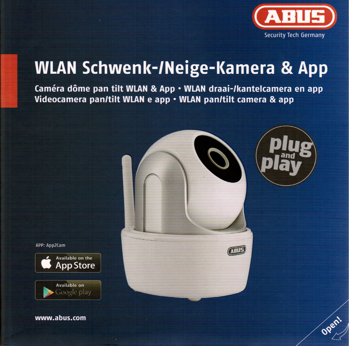 abus tvac19000a wlan schwenk neige kamera app berwachungskamera ebay. Black Bedroom Furniture Sets. Home Design Ideas