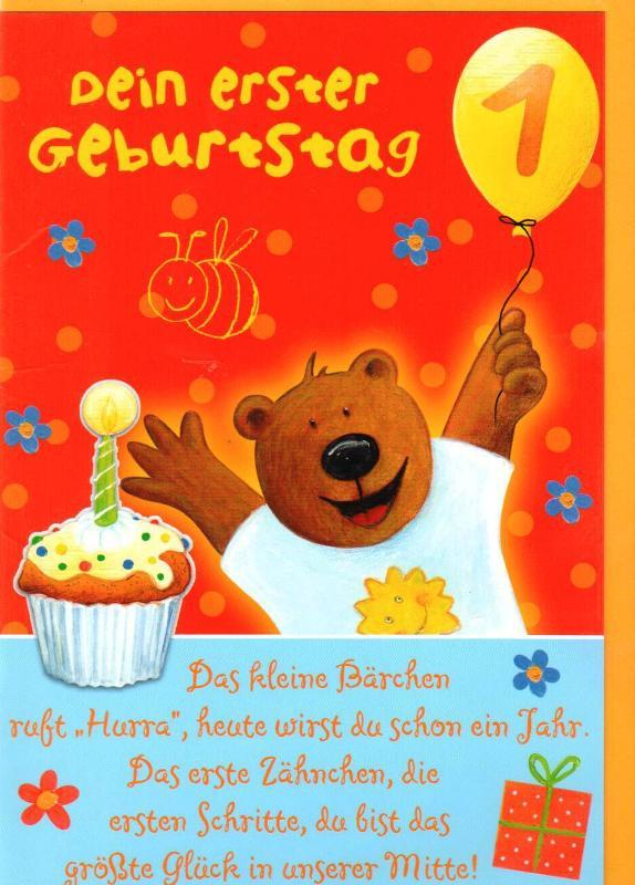 Geburtstagskarte zum 1. Geburtstag Klappkarte Motivkarte