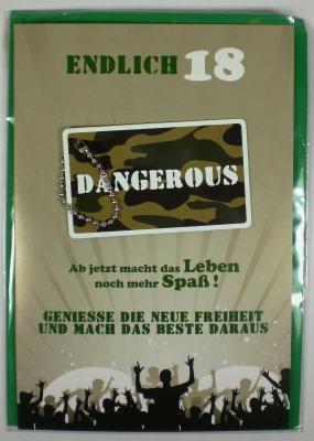 Geburtstagskarte Zum 18 Geburtstag Klappkarte Mit Anhanger Und