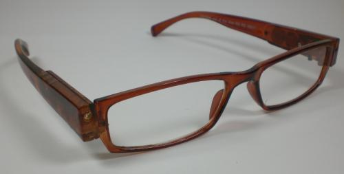 LED-Lesebrille-Lesehilfe-Nachtbrille-Brille-mit-Licht-braun-unisex-incl-Batteri