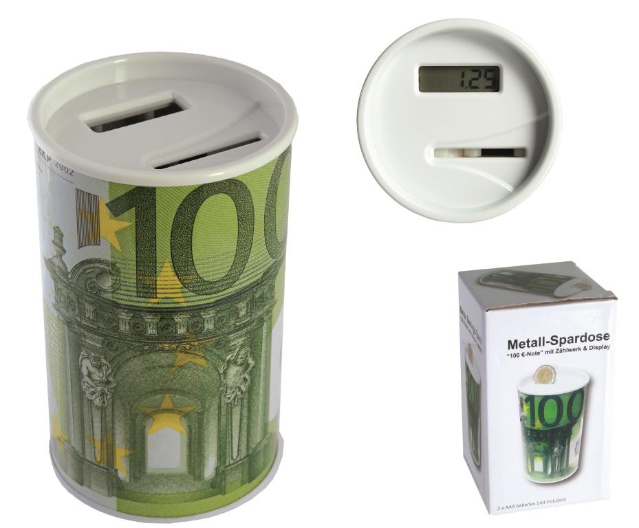 metall spardose mit digitalem z hlwerk display 100 note ebay. Black Bedroom Furniture Sets. Home Design Ideas