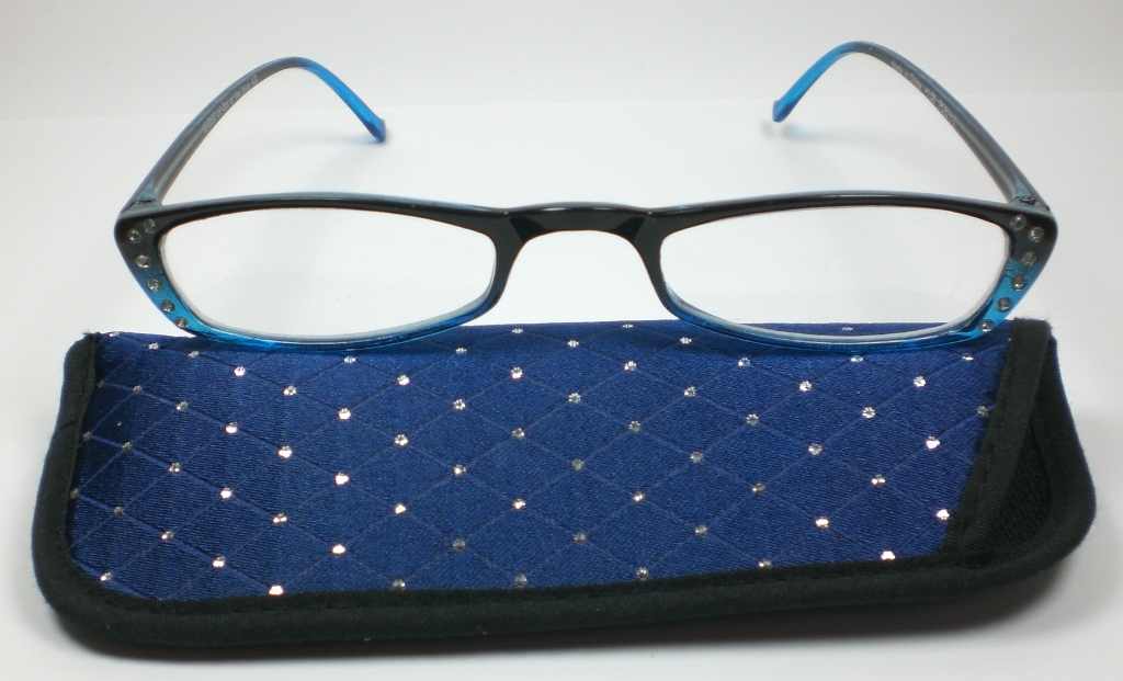 damen lesebrille 1 5 diop lesehilfe mit kristallsteinen blau mit stoff etui se ebay. Black Bedroom Furniture Sets. Home Design Ideas