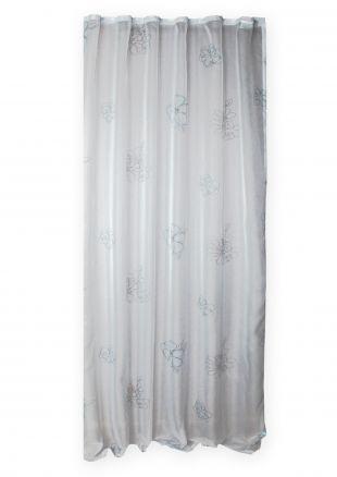 voile dekoschal whitney gardine wei transparent blumen kr uselband vorhang ebay. Black Bedroom Furniture Sets. Home Design Ideas