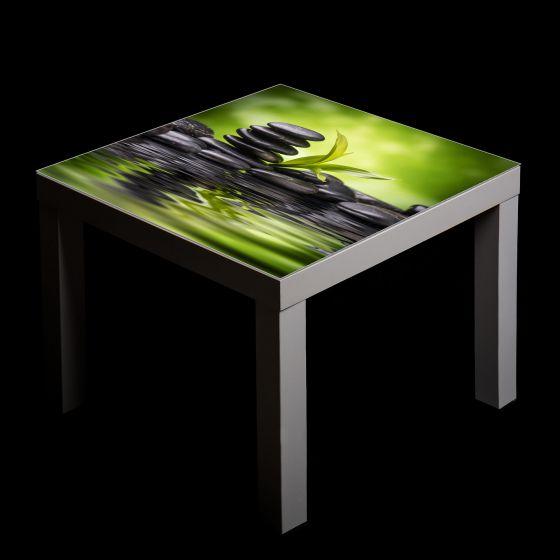 gsmarkt glasbild glasplatte f r ikea lack tisch 55x55 stein natur gr n ebay. Black Bedroom Furniture Sets. Home Design Ideas