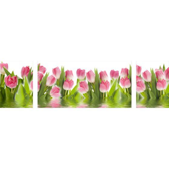 Wandbilder Glas 3 Teilig Acryl Acrylglasbilder Wanddeko Blume Pink ...