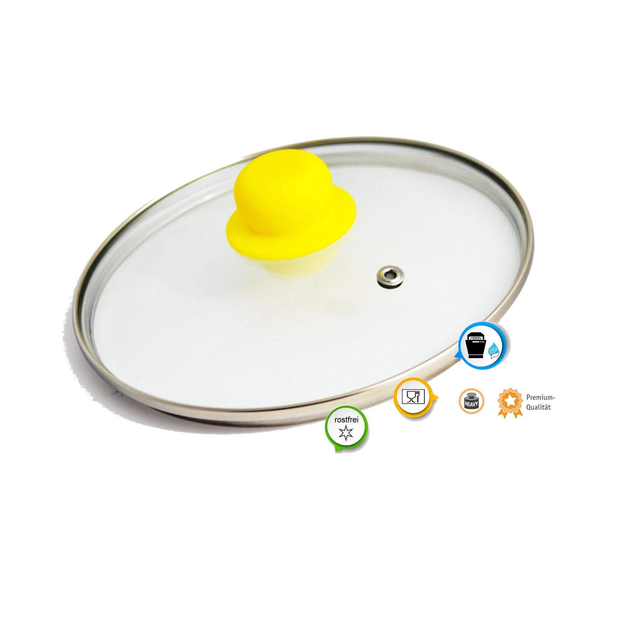 topfdeckel glasdeckel ersatz topf glas deckel pfannendeckel gelber griff 18 cm ebay. Black Bedroom Furniture Sets. Home Design Ideas