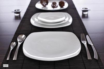 6-Porzellan-Design-Speise-Teller-Porzellanteller-quadr-26cm-Speiseteller