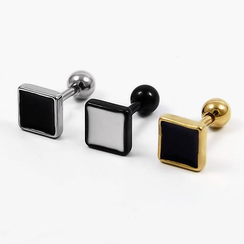 designer plug ohrstecker sq gt edelstahl silber schwarz gold fake herren ohrring ebay. Black Bedroom Furniture Sets. Home Design Ideas