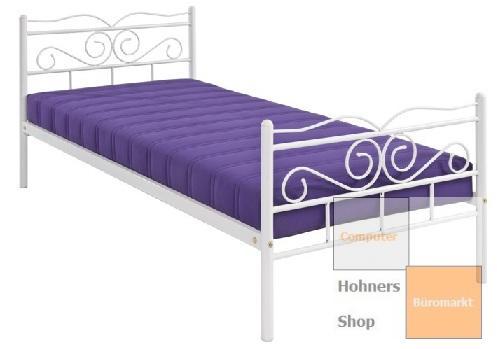 jugendbett r060j 01 metall bett tagesbett 90x200 cm weiss lackiert ebay. Black Bedroom Furniture Sets. Home Design Ideas