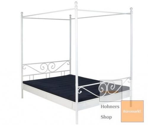himmelbett doppelbett metall bett r068m 180 x 200 cm weiss lackiert ebay. Black Bedroom Furniture Sets. Home Design Ideas