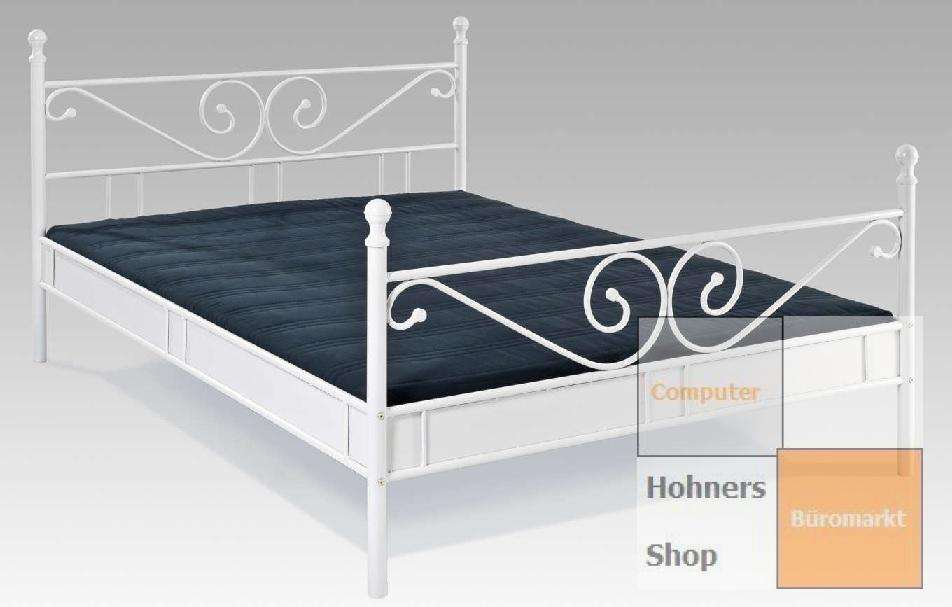 himmelbett doppelbett metall bett r068m 180 x 200 cm weiss lackiert ebay. Black Bedroom Furniture Sets. Home Design Ideas