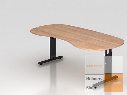 b ro schreibtisch 200x100 cm nierenform modell os20 h henverstellbar ebay. Black Bedroom Furniture Sets. Home Design Ideas