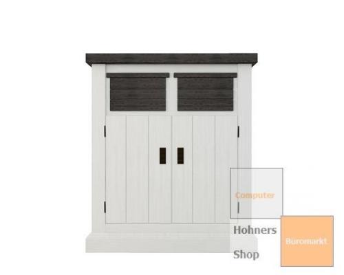 massivholz kommode loft mit 2 schubk sten 2 t ren landhausstil weiss dunkel mix. Black Bedroom Furniture Sets. Home Design Ideas